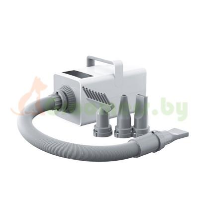 Фен компрессор турбо сушка для сушки животных: кошек, собак и других с сенсорным цифровым дисплеем, ионизацией воздуха, мощность 3200 Вт с 4 насадками