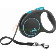 Поводок-рулетка для собак Flexi Black Design S 5 м 15 кг ремень, синий