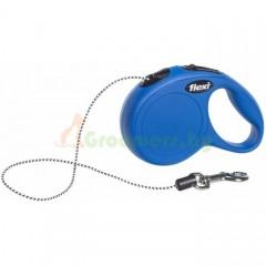 Рулетка-поводок для собак Flexi New Classic S 8 м трос синий