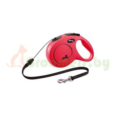 Поводок-рулетка Flexi New Classic M 8 м 20 кг трос красный