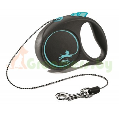 Поводок-рулетка для собак Flexi Black Design XS 3 м 8 кг трос, синий