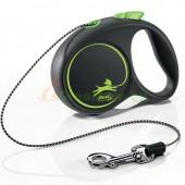 Поводок-рулетка для собак Flexi Black Design XS 3 м 8 кг трос, зеленый