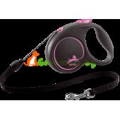Поводок-рулетка для собак Flexi Black Design XS 3 м 8 кг трос, розовый