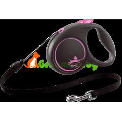 Поводок-рулетка для собак Flexi Black Design S 5 м 12 кг трос, розовый