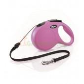 Рулетка-поводок для собак Flexi New Classic M 5 м трос розовый