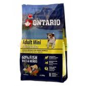 ONTARIO корм для собак малых пород с 7 видами рыбы и рисом (Adult Mini 7 Fish & Rice)