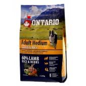 ONTARIO корм для собак с ягненком и рисом (Adult Medium Lamb & Rice)